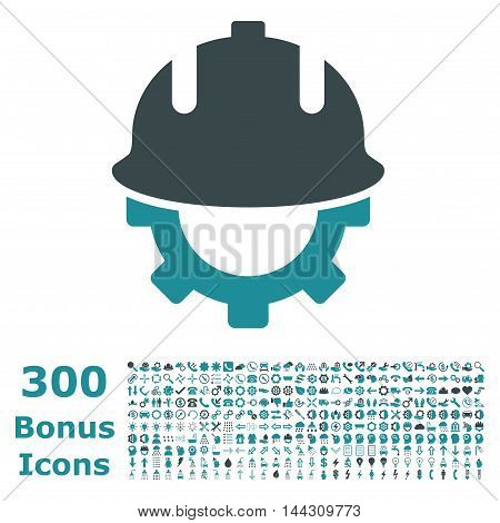 Development Helmet icon with 300 bonus icons. Vector illustration style is flat iconic bicolor symbols, soft blue colors, white background.