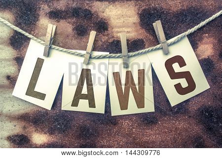 Laws Concept Pinned Stamped Cards On Twine Theme