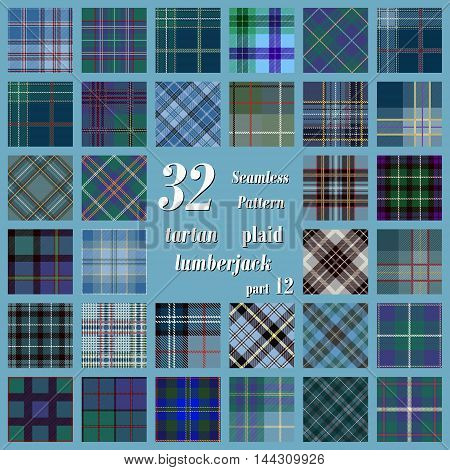 Set tartan seamless pattern in blue green and purple colors. Lumberjack flannel shirt inspired. Seamless tartan tiles. Trendy hipster style backgrounds. Suitable for decorative paper fashion design home and handmade crafts.