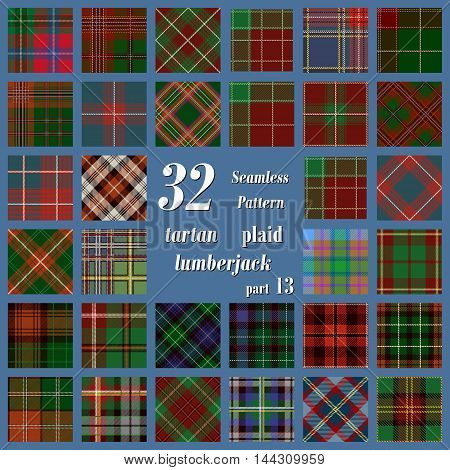 Set tartan seamless pattern in motley colors. Lumberjack flannel shirt inspired. Seamless tartan tiles. Trendy hipster style backgrounds. Suitable for decorative paper fashion design home and handmade crafts.