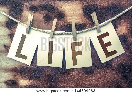 Life Concept Pinned Stamped Cards On Twine Theme