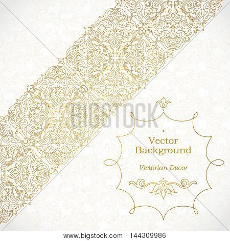 Vector Ornate Diagonal Border In Eastern Style.