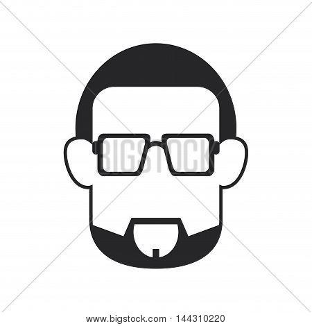 flat design faceless bearded man portrait icon vector illustration