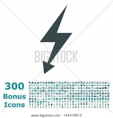 Electric Strike icon with 300 bonus icons. Vector illustration style is flat iconic bicolor symbols, soft blue colors, white background.