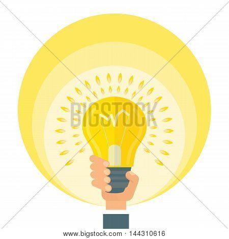 Hand holds bright lamp. Conceptual image of ideas. Elements for sites, brochures, flayers, posters and info graphics. Cartoon flat vector illustration. Objects isolated on a white background.