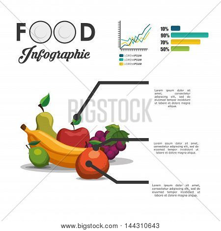 fruits infographic healthy and organic food nutrition lifestyle icon set. Colorful and flat design. Vector illustration