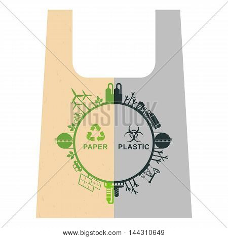 Vector ecology concept. Problem of plastic recycling. Environmentally friendly materials. Objects isolated on a white background. Flat cartoon illustration.