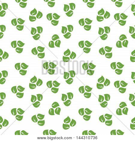 Vector eco simless pattern with green leaves. Ecology design for background and textures. Objects isolated on a white background. Flat cartoon illustration.