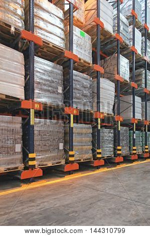 High Rack Shelving System in Distribution Warehouse