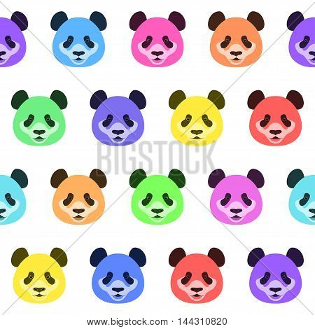 Cartoon panda bear seamless pattern vector background