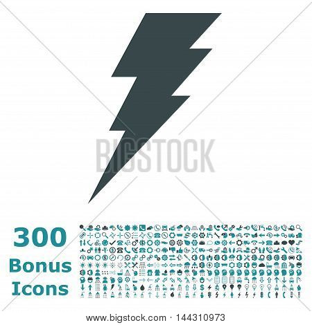 Execute icon with 300 bonus icons. Vector illustration style is flat iconic bicolor symbols, soft blue colors, white background.