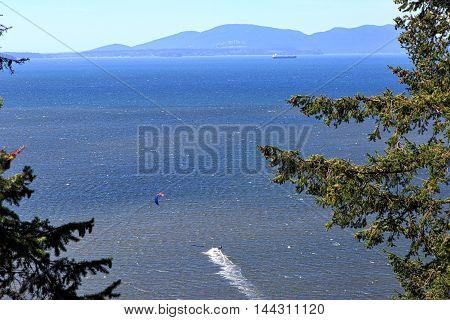 Kite sailing off the Washington State coast near Bellingham