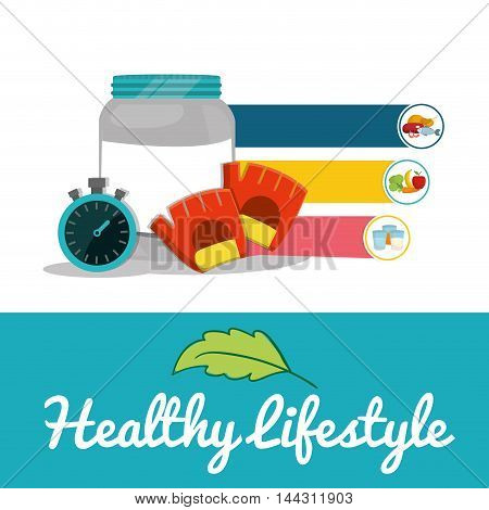 protein chronometer gloves food healthy lifestyle fitness gym bodybuilding icon set. Colorful and flat design. Vector illustration
