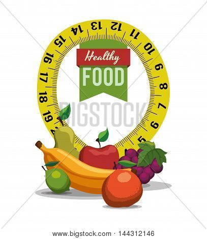 fruits pear apple banana orange grapes meter healthy and organic food nutrition lifestyle icon set. Colorful and flat design. Vector illustration