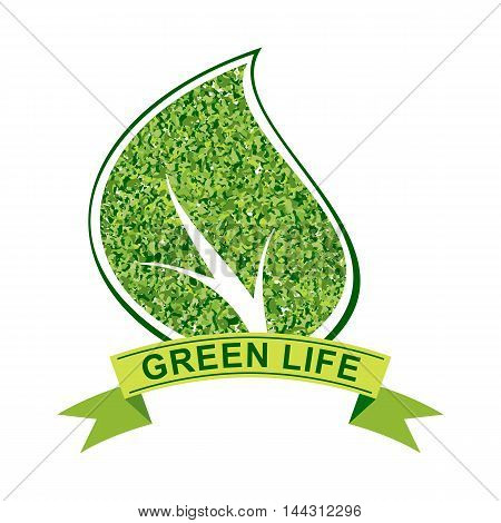 Vector ecology concept. Eco friendly logo with green leaf. Green energy and eco sustainability image. Objects isolated on a white background. Flat cartoon illustration.