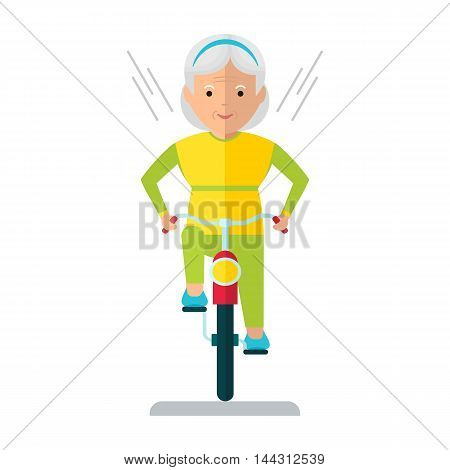 Vector elderly woman on a bicycle. Elderly exercising. Active lifestyle. Flat cartoon vector illustration. Objects isolated on a white background.