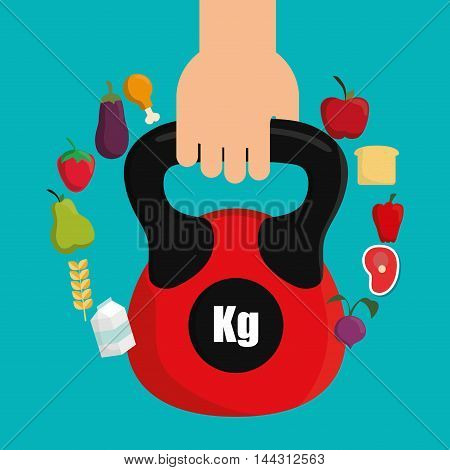 hand weight lifting food healthy lifestyle fitness gym bodybuilding icon set. Colorful and flat design. Vector illustration