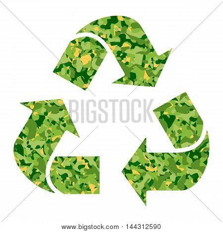 Vector ecology concept with green recycle sign. Objects isolated on a white background. Flat cartoon illustration.
