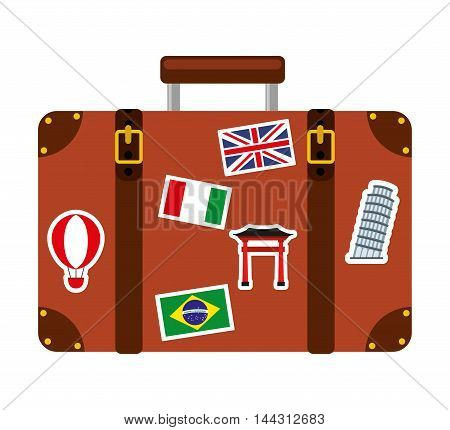 suitcase travel isolated icon vector illustration design
