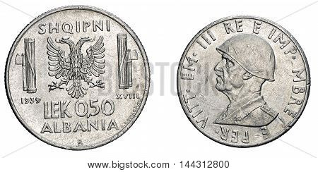 fifty 50 cents LEK Albania acmonital Coin 1939, fascism age in Albania occupation of its territory, double head eagle on back and helmed Vittorio Emanuele III Kingdom of Italy on front, Mint of rome, during the great second world war