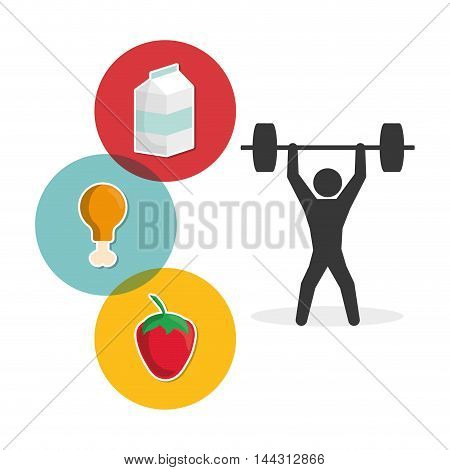 pictogram weight lifting milk strawberry chicken healthy lifestyle fitness gym bodybuilding icon set. Colorful and flat design. Vector illustration