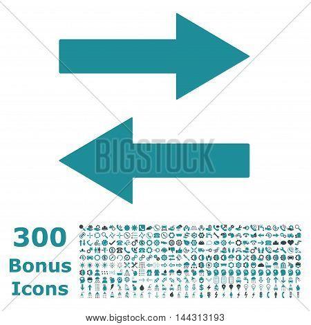 Horizontal Flip Arrows icon with 300 bonus icons. Vector illustration style is flat iconic bicolor symbols, soft blue colors, white background.