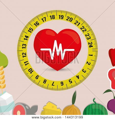 meter heart milk fish cheese onion watermelon meat healthy and organic food nutrition lifestyle icon set. Colorful and flat design. Vector illustration