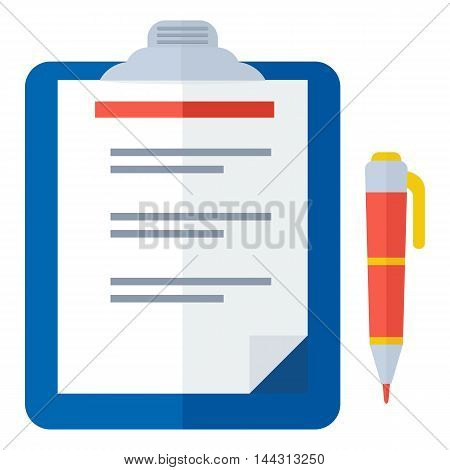 Vector clipboard color icon. Elements for sites, advertising brochures, flayers, posters and info graphics. Flat cartoon vector illustration. Objects isolated on a white background.