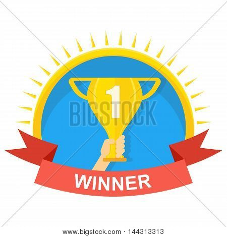 Vector gold winner cup eps 10. Cartoon flat illustration. Objects isolated on a white background.