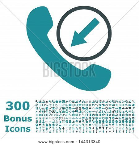 Incoming Call icon with 300 bonus icons. Vector illustration style is flat iconic bicolor symbols, soft blue colors, white background.