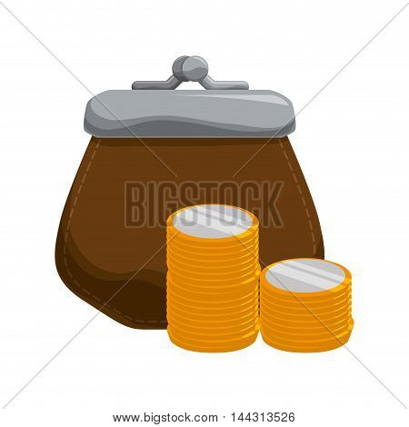 purse coin gold money financial item commerce market icon. Flat and Isolated design. Vector illustration