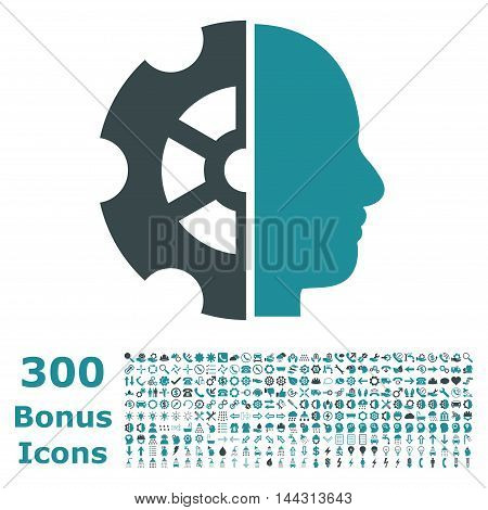 Intellect icon with 300 bonus icons. Vector illustration style is flat iconic bicolor symbols, soft blue colors, white background.