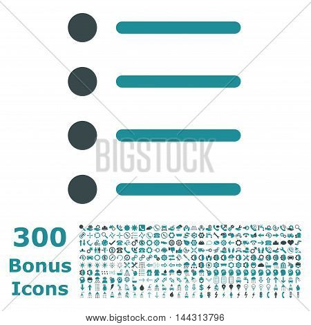 Items icon with 300 bonus icons. Vector illustration style is flat iconic bicolor symbols, soft blue colors, white background.