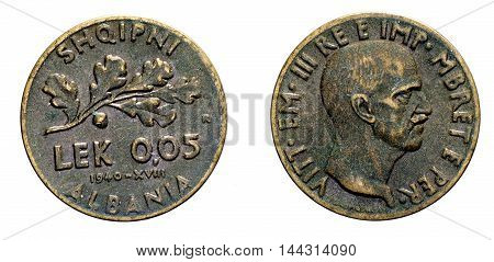 five 5 cents LEK Albania acmonital Coin 1940, fascism age in Albania occupation of its territory, double head eagle on back and helmed Vittorio Emanuele III Kingdom of Italy on front, Mint of rome, during the great second world war
