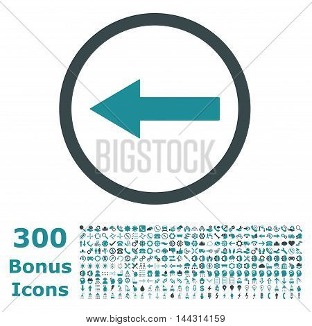Left Rounded Arrow icon with 300 bonus icons. Vector illustration style is flat iconic bicolor symbols, soft blue colors, white background.