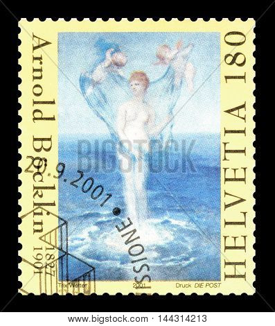 SWITZERLAND - CIRCA 2001 : Cancelled postage stamp printed by Switzerland, that shows painting by Arnold Bocklin.