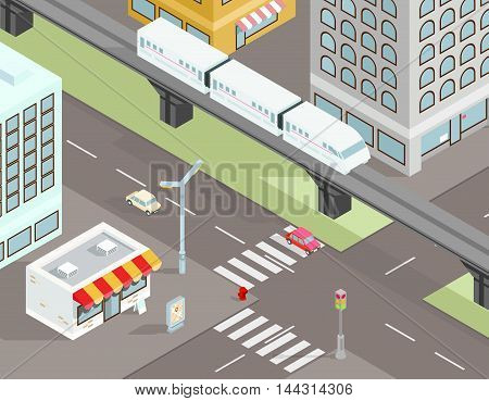 Isometric city street with transport. Town road transport traffic. Vector illustration
