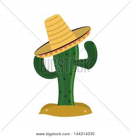 flat design cactus and sombrero icon vector illustration
