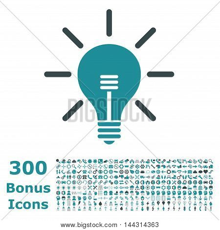 Light Bulb icon with 300 bonus icons. Vector illustration style is flat iconic bicolor symbols, soft blue colors, white background.