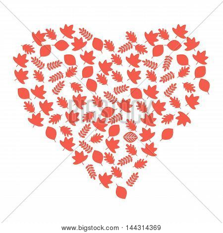 Vector heart of red autumn leaves. Season fall. Elements for sites, advertising brochures, flayers, posters and info graphics. Flat cartoon vector illustration. Objects isolated on a white background.