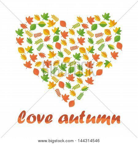 Vector heart of autumn leaves. Season fall. Elements for sites, advertising brochures, flayers, posters and info graphics. Flat cartoon vector illustration. Objects isolated on a white background.