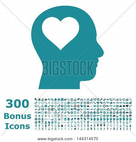 Lover Head icon with 300 bonus icons. Vector illustration style is flat iconic bicolor symbols, soft blue colors, white background.