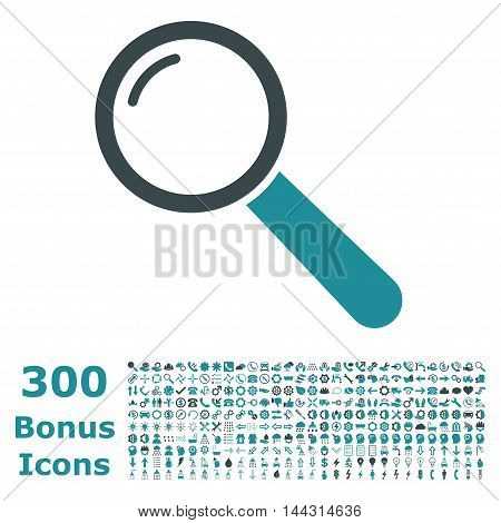 Magnifier icon with 300 bonus icons. Vector illustration style is flat iconic bicolor symbols, soft blue colors, white background.