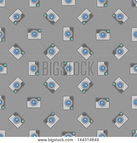 Digital Camera Icon Seamless Pattern on Grey Background.