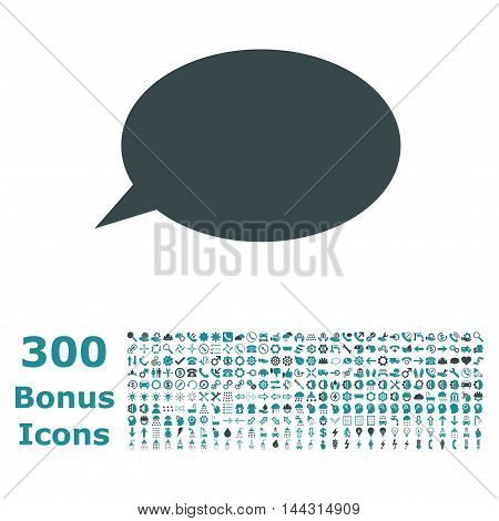 Message Cloud icon with 300 bonus icons. Vector illustration style is flat iconic bicolor symbols, soft blue colors, white background.