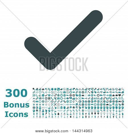 Ok icon with 300 bonus icons. Vector illustration style is flat iconic bicolor symbols, soft blue colors, white background.