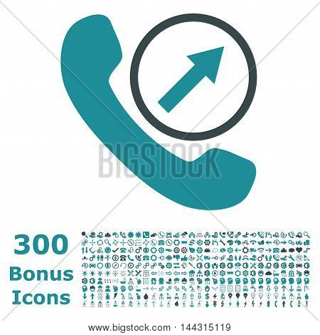 Outgoing Call icon with 300 bonus icons. Vector illustration style is flat iconic bicolor symbols, soft blue colors, white background.