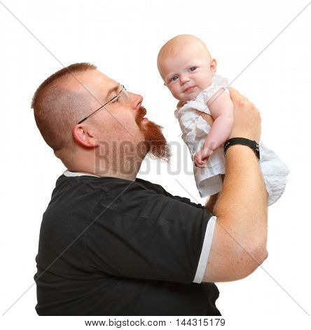 Overweight bearded father and his little baby on white background. Lifestyle picture. Parenthood and child care concept.