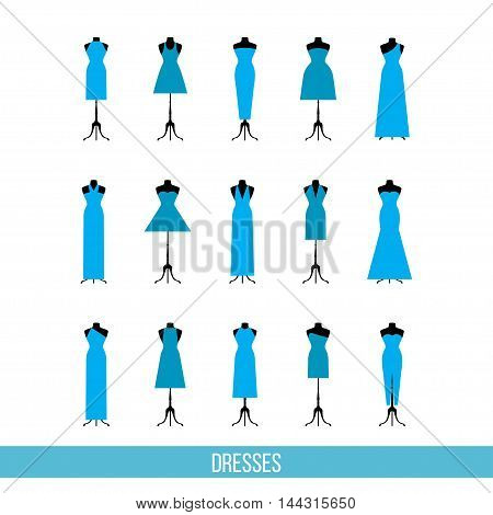 Blue dress collection for use in design