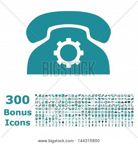 Phone Settings icon with 300 bonus icons. Vector illustration style is flat iconic bicolor symbols, soft blue colors, white background.